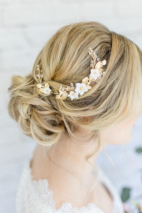 Braut Haarschmuck Headpiece Hochzeit Haarband Ranke Draht Kopfschmuck Perlen Strass haarkamm spange blumen braut blüte gold