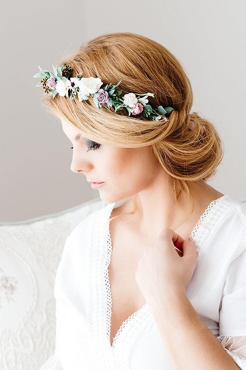 Blumenkranz Braut Hochzeit Haarkranz Blumen Haarschmuck Brautjungfern Oktoberfest Kranz Kopfschmuck Haarband Eukalyptus rot