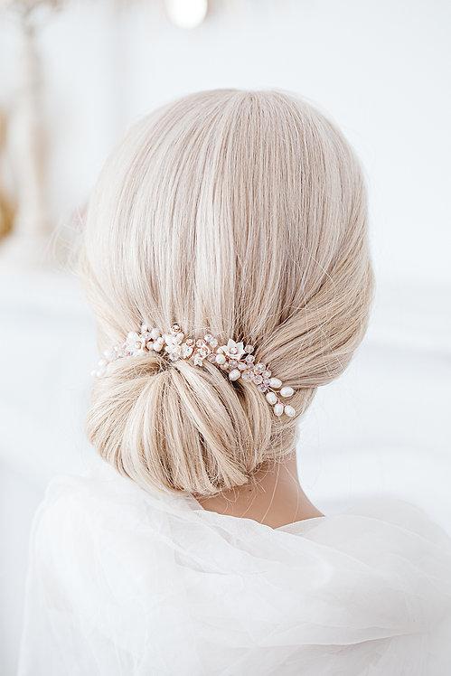Braut Haarschmuck Hochzeit Headpiece Fascinator Haarranke Haardraht Draht Ranke Braut Haarblumen Haargesteck Spange goldrosa