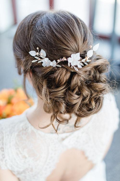 Braut Haarschmuck in rosegold blush apricot Headpiece Hochzeit Haarranke Haardraht mit Perlen Strass Kristallen Swarovski