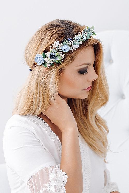 Blumenkranz Braut Hochzeit Haarkranz Blumen Haarschmuck Brautjungfern Oktoberfest Kranz Kopfschmuck HaarbandEukalyptus blau