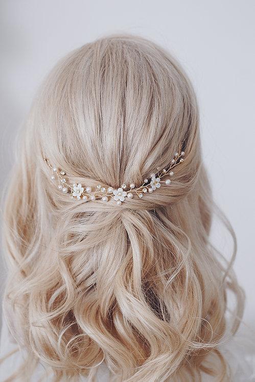 Braut Haarschmuck Headpiece Hochzeit Haarreif Diadem Tiara Haarband Ranke Draht Kopfschmuck Perlenblumen braut blüte gold
