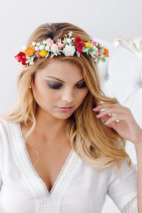 Blumenkranz Braut Hochzeit Haarkranz Blumen Haarschmuck Oktoberfest Kranz Kopfschmuck EukalyptusSukkulenten rot