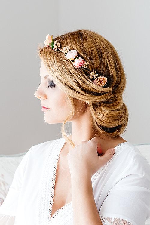 Blumenkranz Braut Hochzeit Haarkranz Blumen Haarschmuck Brautjungfern Oktoberfest Kranz Kopfschmuck Haarband apricot nude