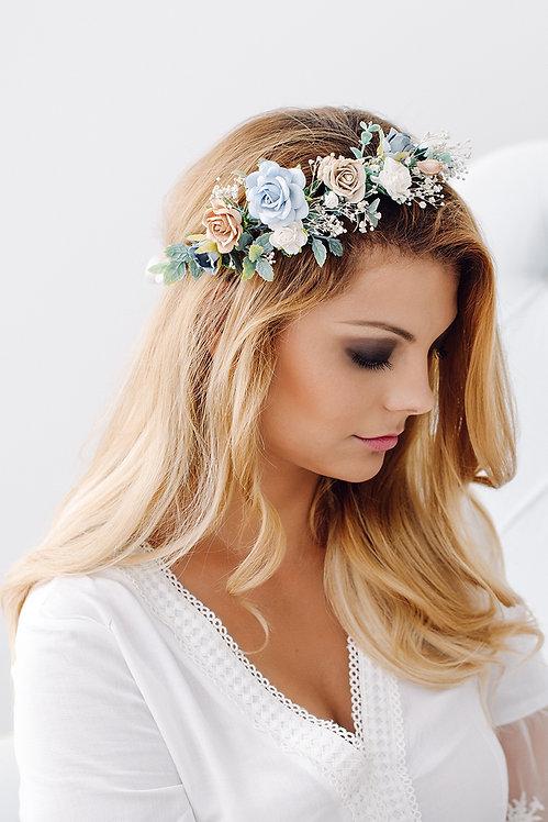 Blumenkranz Braut Hochzeit Haarkranz Blumen Haarschmuck Brautjungfern Oktoberfest Kranz Kopfschmuck Haarband blau