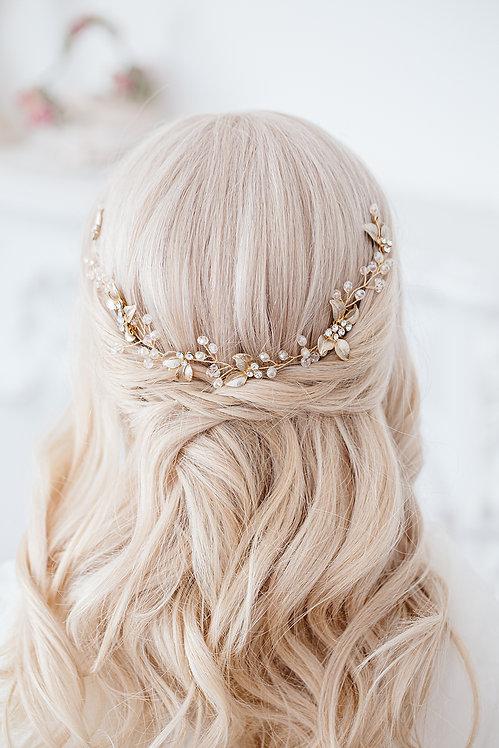 Braut Haarschmuck Hochzeit Headpiece Fascinator Haarranke Haardraht Draht Ranke Braut Haarblumen Haargesteck Spange gold