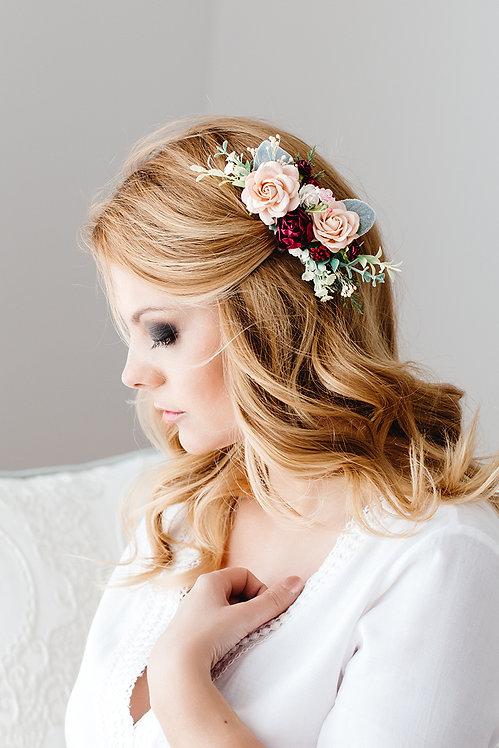 Haarschmuck Haarkamm Braut Schmuck Haar Blumen Blüten Hochzeit Oktoberfest Eukalyptus Seidenblumen rot nude apricot marsala
