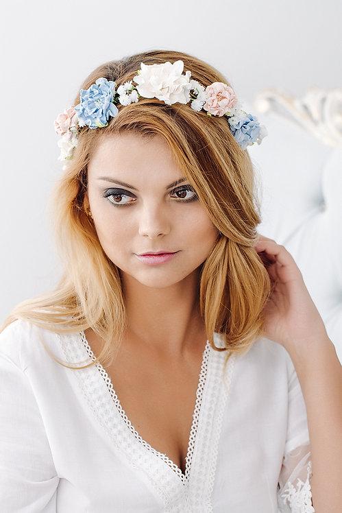 Blumenkranz Braut Hochzeit Haarkranz Blumen Haarschmuck Brautjungfern Oktoberfest Kranz Kopfschmuck HaarbandHortensien blau
