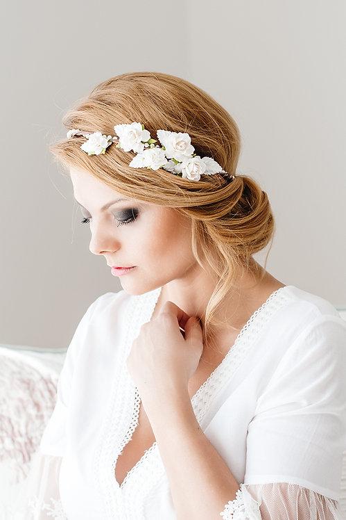 Braut Blumenkranz Oktoberfest Hochzeit Haarschmuck Brauthaarschmuck Haarband Blumen Kranz Haarkranz Dirndl Creme Ivory