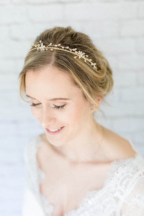 Braut Haarschmuck Headpiece Hochzeit Tiara Diadem Haarband Ranke Draht  Hochzeit Kopfschmuck Perlen Strass Kranz silber gold
