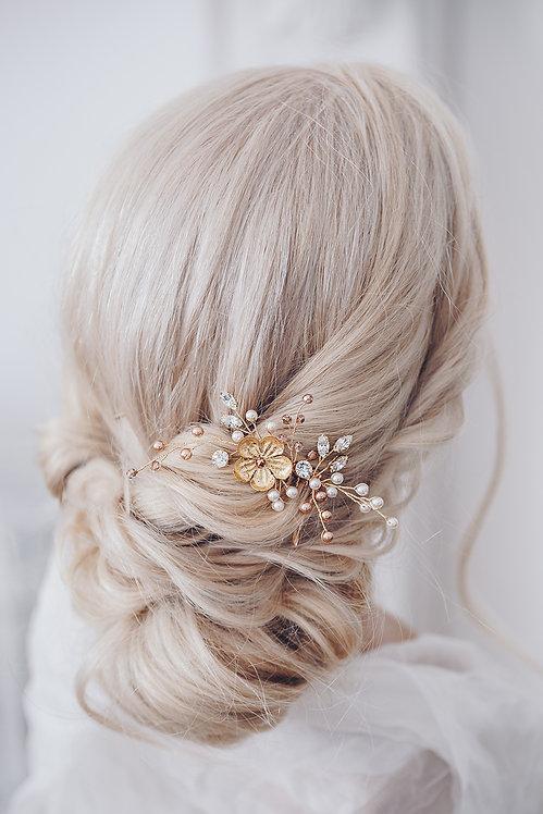 Braut Haarschmuck Headpiece Hochzeit Kopfschmuck Perlen Strass haarkamm spange blumen braut blüte Brautfrisur gold