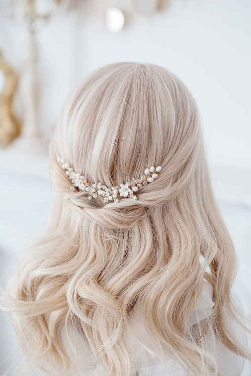 Braut Haarschmuck Hochzeit Headpiece Fascinator Haarranke Haardraht Draht Ranke Braut Haarblumen Haargesteck Spange goldKamm
