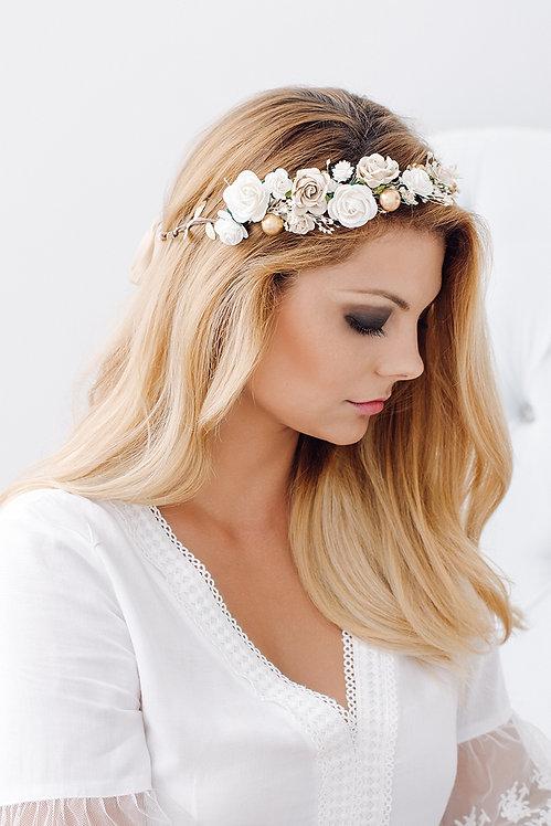 Blumenkranz Braut Hochzeit Haarkranz Blumen Haarschmuck Brautjungfern Oktoberfest Kranz Kopfschmuck Haarband gold creme weiß