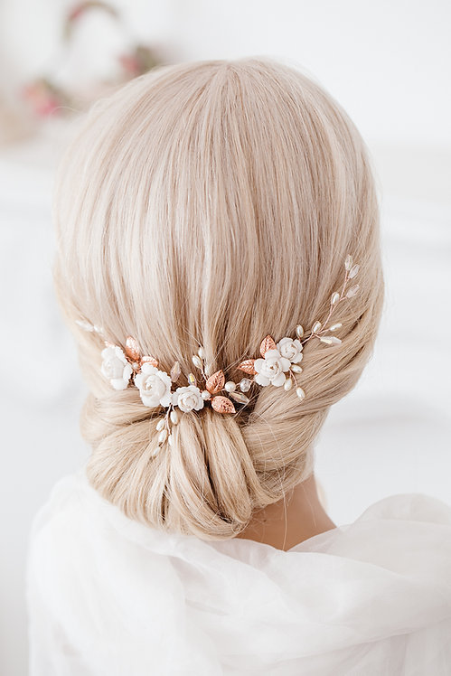 Braut Haarschmuck Hochzeit Headpiece Fascinator Haarranke Haardraht Draht Ranke Braut Haarblumen Haargesteck rotgold rosegold