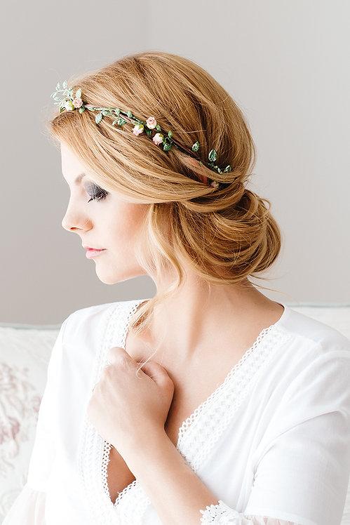 Blumenkranz Braut Hochzeit Haarkranz Blumen Haarschmuck Brautjungfern Oktoberfest Kranz Kopfschmuck Haarband Eukalyptus rosen