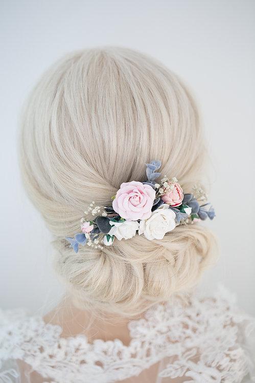Blumenkranz Braut Hochzeit Haarkranz Blumen Haarschmuck Brautjungfern Oktoberfest Kranz Kopfschmuck Haarbandivory blau pink