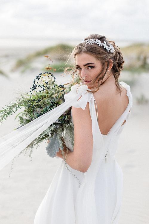 Braut Haarschmuck Headpiece Hochzeit Haarreif Diadem Tiara Haarband Ranke Draht Kopfschmuck Perlenblumen braut blüte silber