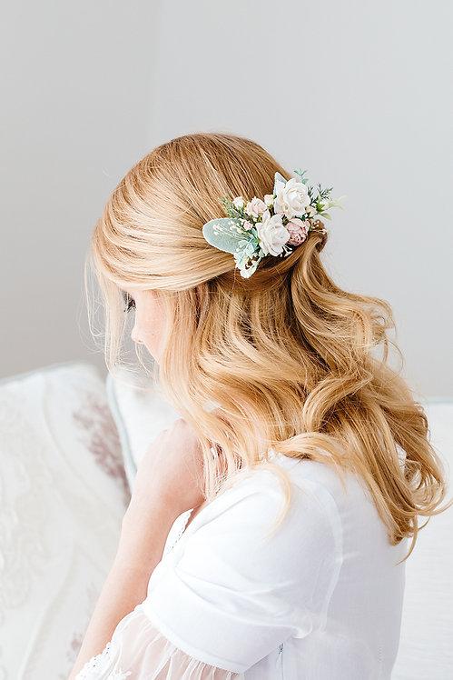 Haarschmuck Braut Hochzeit Blumen Haarblumen Brautjungfern Oktoberfest Kopfschmuck Haarkamm Spange Eukalyptus creme apricot