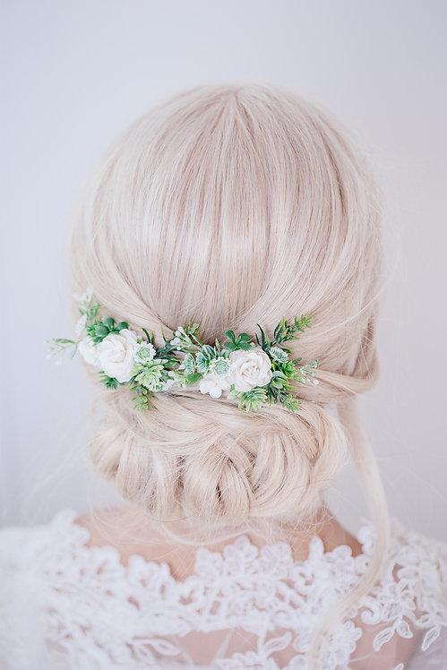 Blumenkranz Braut Hochzeit Haarkranz Blumen Haarschmuck Oktoberfest Kranz Kopfschmuck EukalyptusSukkulenten grün