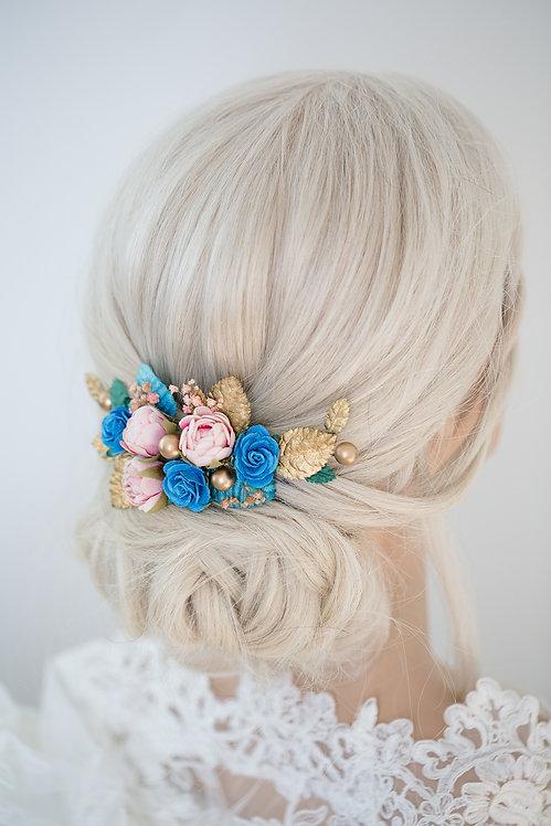 BrautHaarschmuck HaarkammHochzeit Haarkranz BlumenBlumenkranzBrautjungfern Oktoberfest Kranz Kopfschmuck Spange gold blau