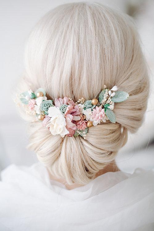 Blumenkranz Braut Hochzeit Haarkranz Blumen Haarschmuck Brautjungfern Oktoberfest Kranz Kopfschmuck HaarbandEukalyptus rosé