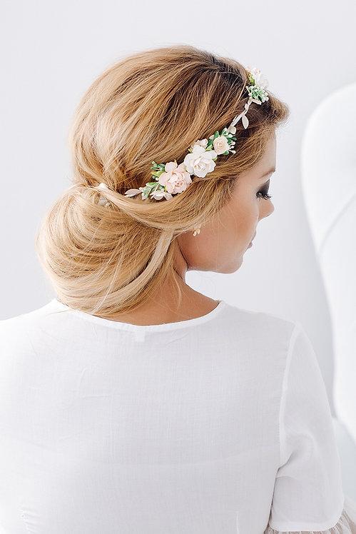 Blumenkranz Braut Hochzeit Haarkranz Blumen Haarschmuck Brautjungfern Oktoberfest Kranz Kopfschmuck Haarband orange weiß