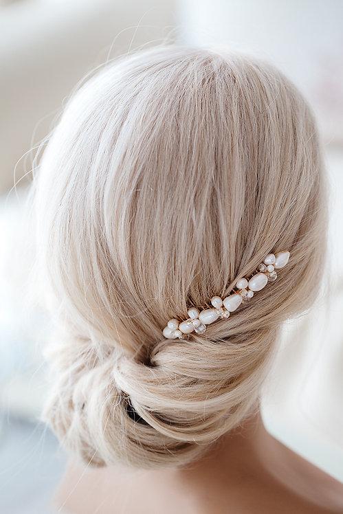 Braut Haarschmuck mit Perlen un gold Süßwasserperlen Haarkamm Hochzeit Spange Brauthaarschmuck Kopfschmuck
