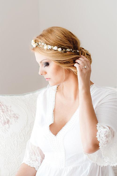 Blumenkranz Braut Hochzeit Haarkranz Blumen Haarschmuck Brautjungfern Oktoberfest Kranz Kopfschmuck Haarband gold weiß