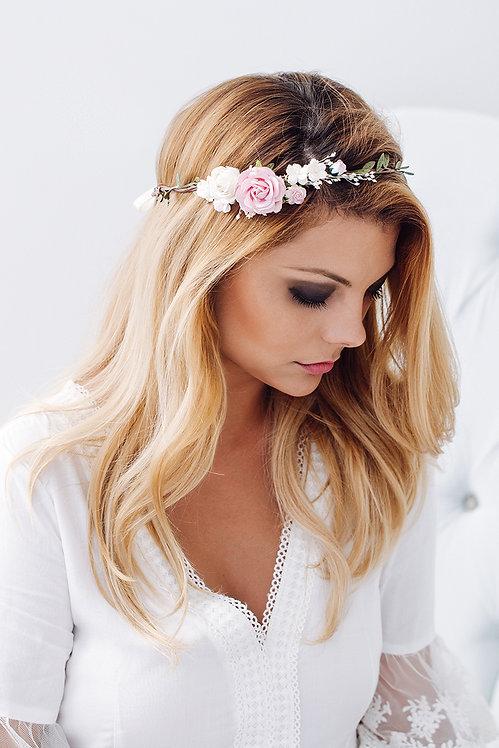 Braut Haarschmuck Kranz Blumenkranz Hochzeit Haarkranz Blumen Brautjungfern Oktoberfest Kopfschmuck Haarband rosa rosé weiß