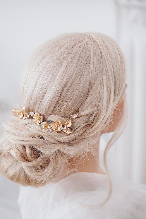 Braut Haarschmuck in gold Hochzeit Headpiece Haarranke Haardraht Blumenkranz Haarkranz Haarkamm Haarspange Kranz Draht