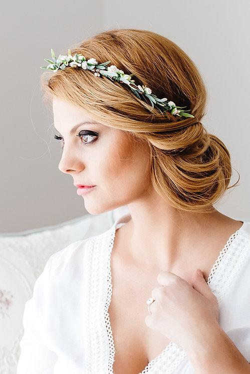 Blumenkranz Braut Hochzeit Haarkranz Blumen Haarschmuck Brautjungfern Oktoberfest Kranz Kopfschmuck Haarband Eukalyptus weiß