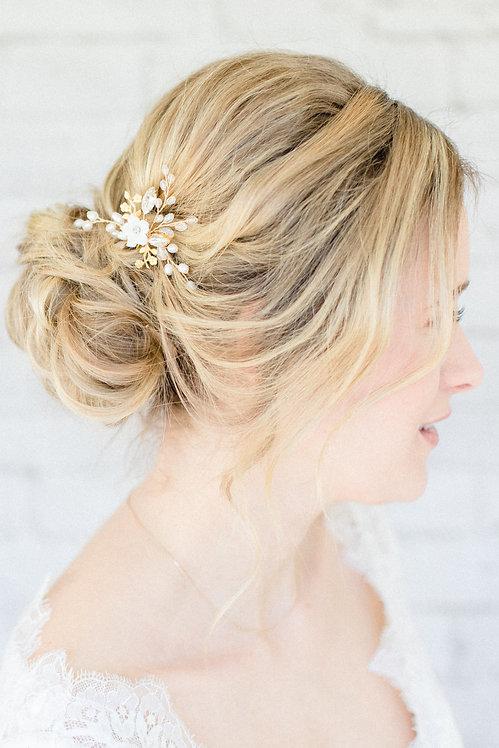 Braut Haarschmuck Headpiece Hochzeit Kopfschmuck Perlen Strass haarkamm spange haarnadel bobby pin  blumen braut blüte gold