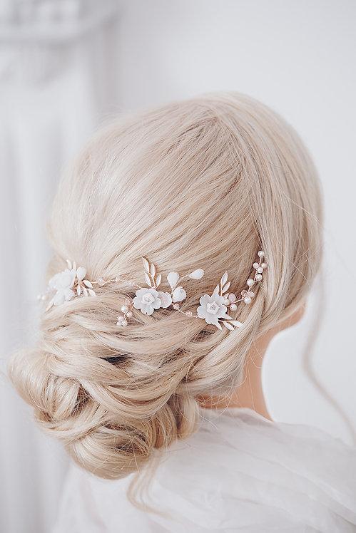 Braut Haarschmuck rose gold rotgold Hochzeit Haar Headpiece roségold rose-gold blush nude apricot Kopfschmuck