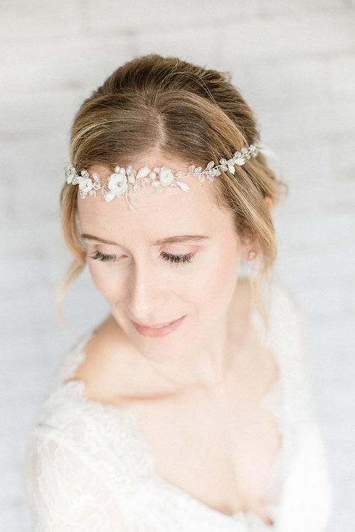 Braut Haarschmuck Headpiece Hochzeit Haarband Ranke Draht Kopfschmuck Perlen Strass silber stirnband kranz blumen