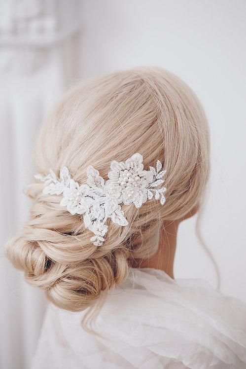Braut Haarschmuck mit Spitze und Perlen Haarblumen Hochzeit Braut Accessoires Haar