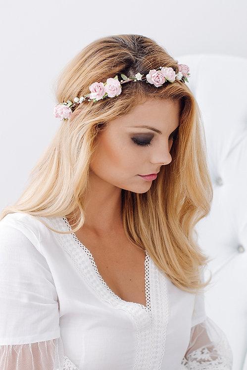 Blumenkranz Braut Hochzeit Haarkranz Blumen Haarschmuck Brautjungfern Oktoberfest Kranz Kopfschmuck Haarband rosa rosé