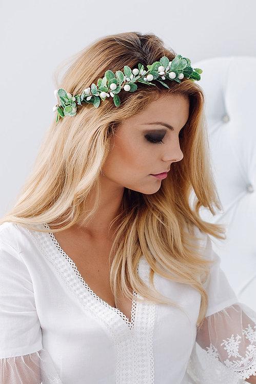 Blumenkranz Braut Hochzeit Haarkranz Blumen Haarschmuck Brautjungfern Oktoberfest Kranz Kopfschmuck HaarbandEukalyptus grün