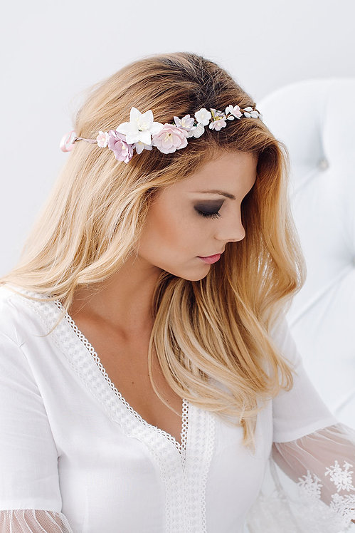 Blumenkranz Braut Hochzeit Haarkranz Blumen Haarschmuck Brautjungfern Oktoberfest Kranz Kopfschmuck Haarband Lilien rosa pink