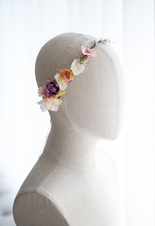 Braut Blumenkranz Haarkranz Haarband Haarschmuck Dirndl Hochzeit Oktoberfest Kranz Kopfschmuck Babybauch Fotoshootings rosa