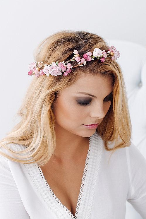 Blumenkranz Braut Hochzeit Haarkranz Blumen Haarschmuck Brautjungfern Oktoberfest Kranz Kopfschmuck Haarband rosé pink