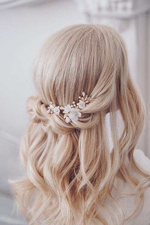 Braut Haarschmuck Headpiece Hochzeit Haarkamm Ranke Draht Kopfschmuck Perlen Strass spange blumen braut blüte gold