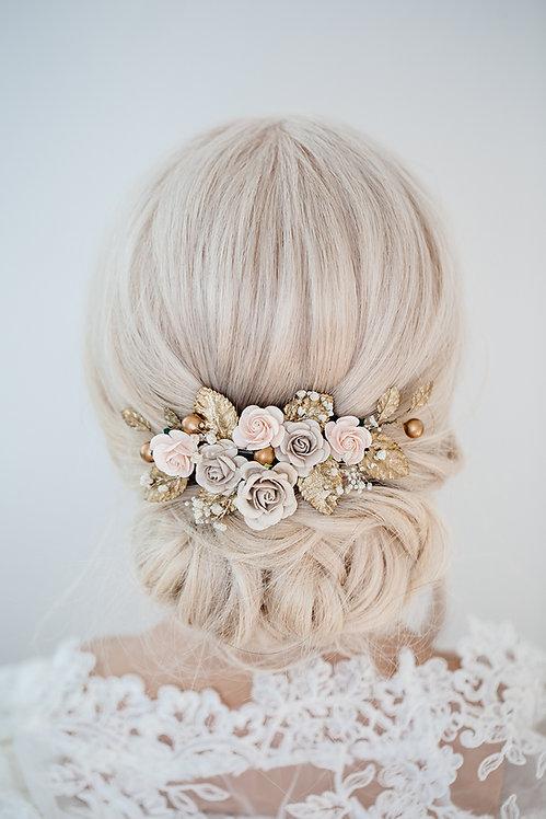 Braut Haarschmuck Kranz Blumenkranz Hochzeit Haarkranz Blumen Brautjungfern Oktoberfest Kopfschmuck Haarkamm gold Gipskraut