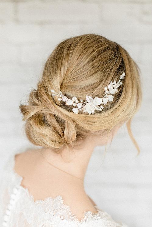 Braut Haarschmuck Headpiece Hochzeit Fascinator Kopfschmuck Perlen Strass haarkamm spange blumen braut blüte Brautfrisur gold