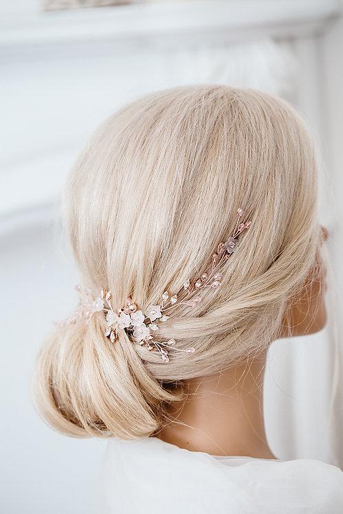 Braut Haarschmuck rosegold mit Blüten und Perlen Kristallen Hochzeit Haar-Accessoires online kaufen Braut Kopfschmuck Spange