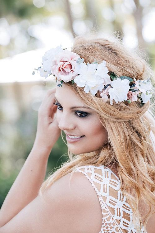 Blumenkranz Braut Hochzeit Haarkranz Blumen Haarschmuck Brautjungfern Oktoberfest Kranz Kopfschmuck Haarband Eukalyptus rosa