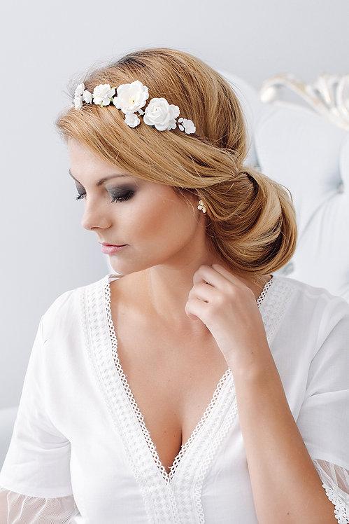 Blumenkranz Braut Hochzeit Haarkranz Blumen Haarschmuck Brautjungfern Oktoberfest Kranz Kopfschmuck Haarband weiß creme ivory