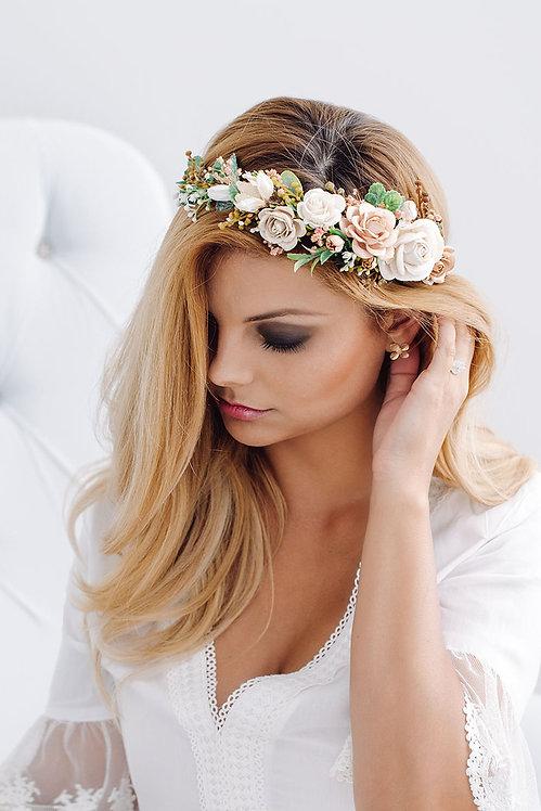 Blumenkranz Braut Hochzeit Haarkranz Blumen Haarschmuck Brautjungfern Oktoberfest Kranz Kopfschmuck Haarband Schleierkraut