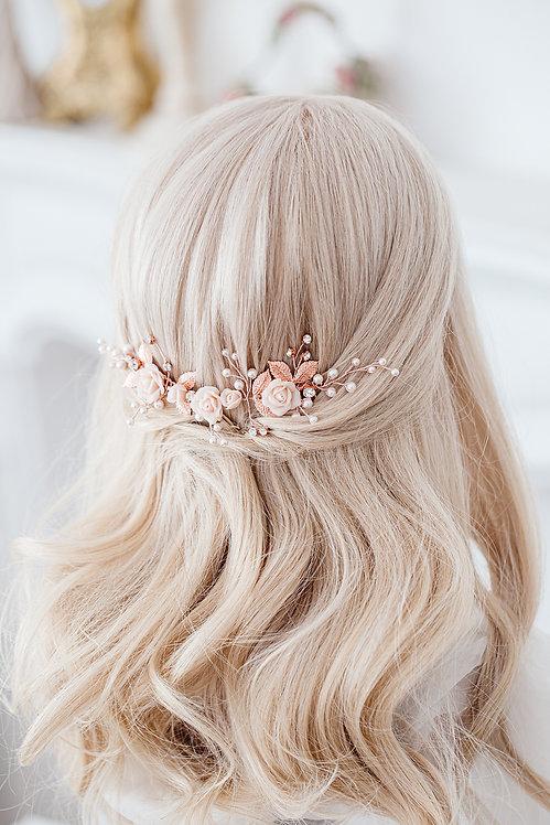 Braut Haarschmuck Hochzeit Headpiece Fascinator Haarranke Haardraht Draht Ranke Braut Haarblumen Haargesteck Spange rosegold