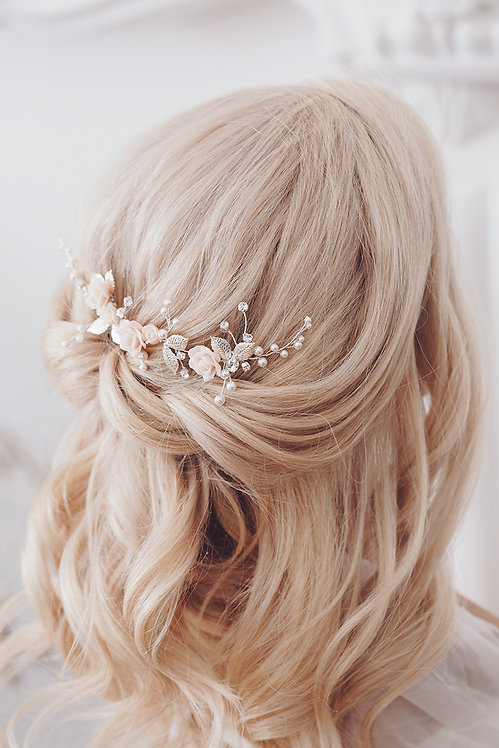 Braut Haarschmuck rosa Headpiece Kopfschmuck Hochzeit Haarblüten Braut Blüte Haarkamm Perlen Kristallen Strass Princess Mim