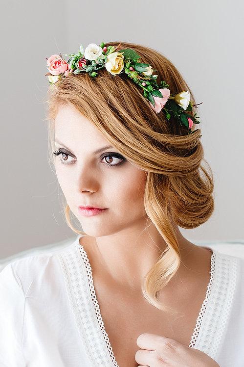 Blumenkranz Braut Hochzeit Haarkranz Blumen Haarschmuck Brautjungfern Oktoberfest Kranz Kopfschmuck Haarband eucalyptus Somme